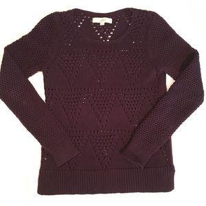 LOFT chunky knit sweater burgundy size small